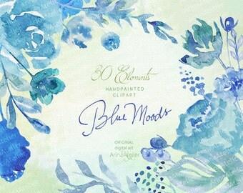 Blue Moods Watercolor CLIPART - Handpainted flowers, Wedding Florals, Wedding Invitations, DIY Invitation, Watercolor Flowers, Scrapbooking