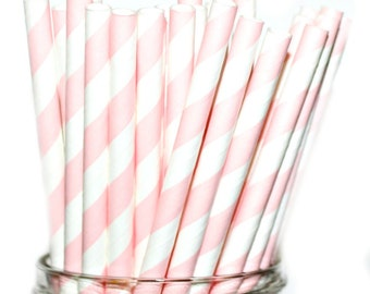 PALE PINK STRAWS- Paper Straws Baby Bridal Wedding Shower-  (25)