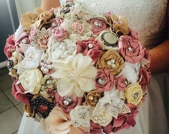 Handmade fabric flower bridal bouquet