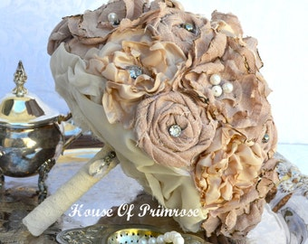 Dusty rose shabby chic fabric flower bridal bouquet with pearl beads and vintage lace