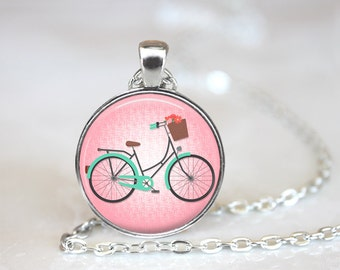Bicycle with Basket Pendant, Bicycle Necklace, Bicycle Jewelry, Bicycle Jewellery, Bike Necklace,Bike Jewelry