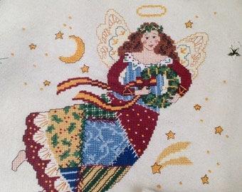 PATCHWORK ANGEL cross stitch 9 x 9 in
