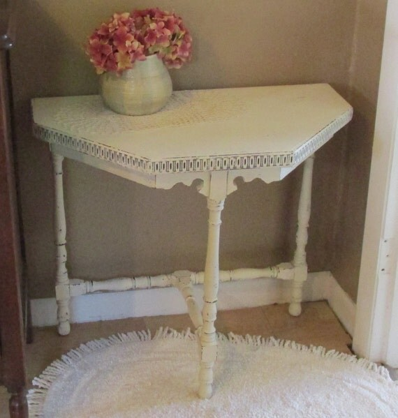 Lovely, Entry, Accent, Side, End Table, Night Stand, Distressed Antique White, Shabby Chic, French Country, Beach Cottage, Decor, Upcycled