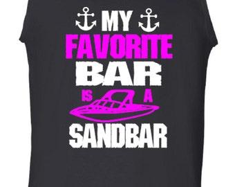 Funny Tank Top, My Favorite Bar is a Sandbar, Printed Tank, Personalized Tank Top