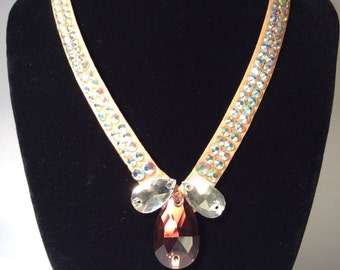 Katie Rhinestone Crystal AB and Teardrop Pendant Dance / Special Occasion Necklace