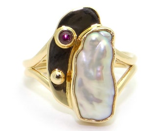 14k Yellow Gold 16mm Pearl Garnet Painters Pallet Band Ring Size 6.5 Hand Made