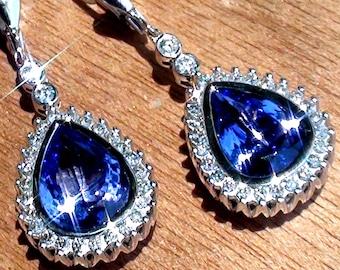 Tanzanite earrings,Tanzanite jewelry,Gemstone earrings,Gemstone jewelry,Drop earrings,Dangle earrings,Tanzanite,Estate,Jewelry,Earrings
