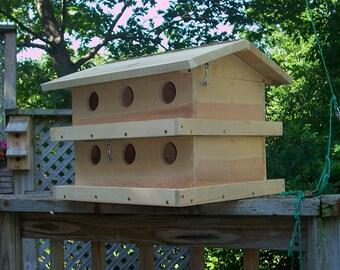 Two story purple martin birdhouse.