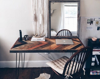 Handmade Hairpin Desk with Barnwood Chevron top.