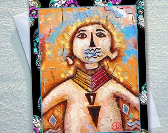 """GREETING card,Navajo cave man,surrounded by vibrant colours ,candy skulls for background,ecofriendly,sustainable card,4.13"""" x 5.82"""""""