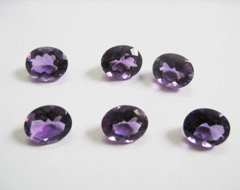 10-P Wholesale Lot Of  purple Amethyst Oval Cut Faceted Calibrated Loose Gemstone