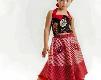 Girl Gingham Nautical Rockabilly Skirt
