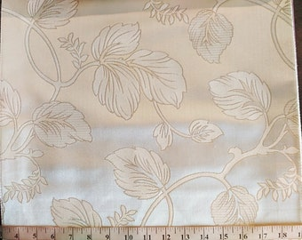 Multipurpose Large Floral pattern Fabric in Ivory / Biege/ Silver /  for Curtains, Pillows, Shades, Bedding