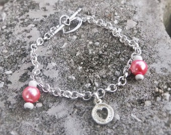 Pink Love Charm Bracelet - Heart Clasp (One of a Kind)