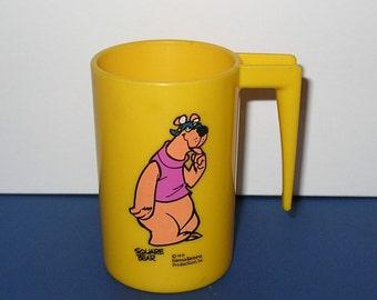 Vintage 1970s Hanna Barbera Hair Bear Bunch Square Bear Plastic Mug