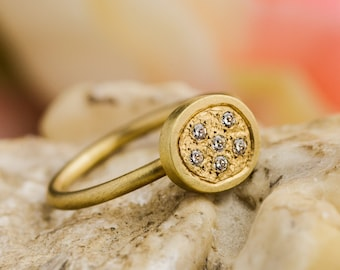 18K Yellow Gold Ring with Natural Diamonds, Yellow Gold Ring, Natural White Diamonds Ring, Yellow Gold and Diamonds Ring, Zehava Jewelry