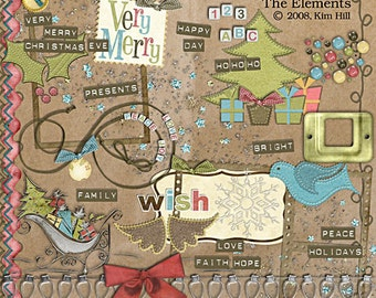 """Christmas Digital Scrapbook Elements - """"Contemporary Christmas"""" digital scrapbooking embellishments with sleigh, snowflake and tree"""