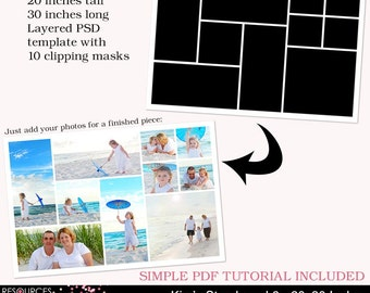 Storyboard Template 6 - 20x30 Inches, layered photoshop template for professional photographers, digital instant download, PSD file