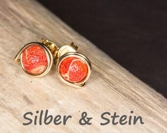 Coral Stud Earrings gold