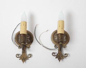Pair 1920's Cast Iron and Brass Single Sconces