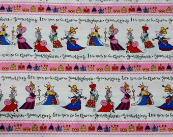 Michael Miller Your Highness, #C2266.  100% cotton fabric, white background with mulit-colored queens, and stripes with crownsl ~20