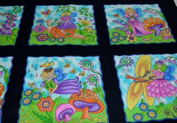Blank Quilting Fairy Garden, this fabric has a black background with Fairies on each panel....92