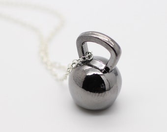 Gunmetal Kettlebell Charm Necklace - Kettle Bell Chain Necklace Fitness Charm Weightlifting Exercise crossfit Pendant Handmade Gift