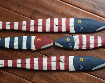 USA America Fish - Wooden Fish Nautical Fish Decor - Reclaimed Fish - Reclaimed Picket Fence Fish - Red, White, Blue