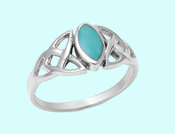 triquetra Pierre celtique, 925 bague d'anniversaire de mariage de ...