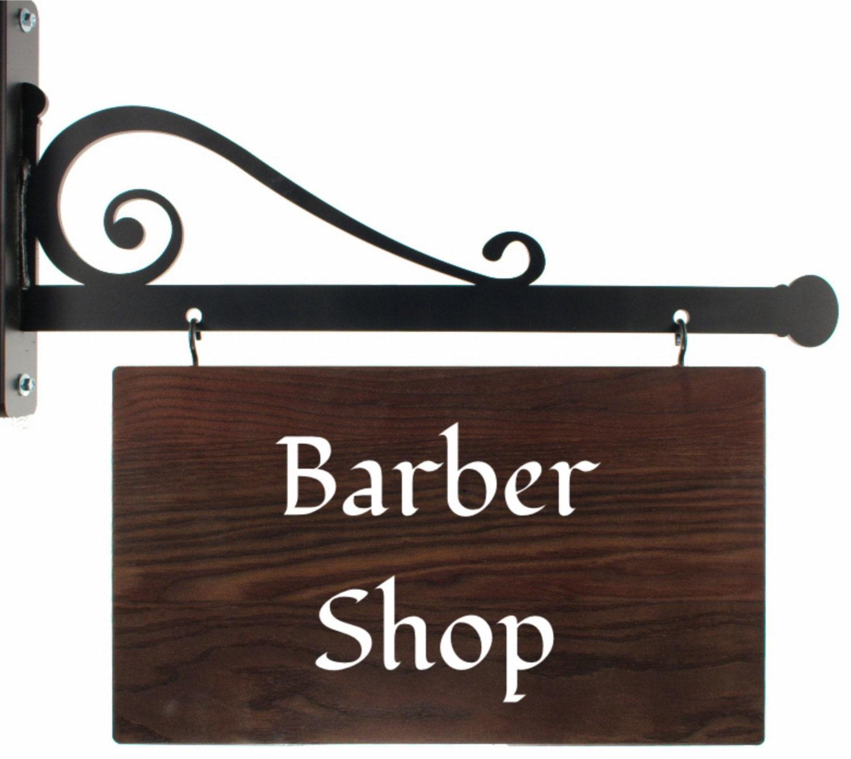 hanging shop sign with iron bracket custom wood signs home. Black Bedroom Furniture Sets. Home Design Ideas