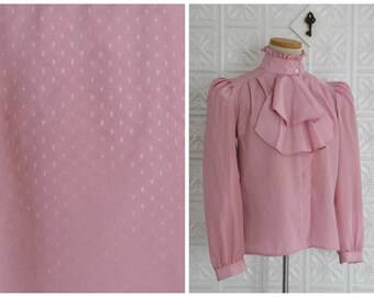 Bubblegum Victorian-Style Blouse - Pink, High-Collared Button Up Shirt with Ruffles