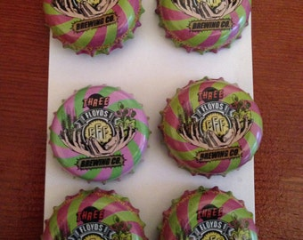 Three Floyds Beer cap magnets. Gift Set of 6.