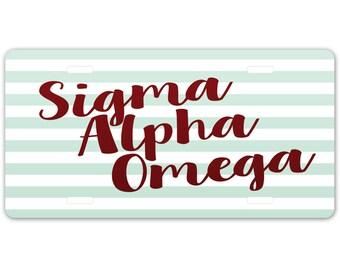 Sigma Alpha Omega // Aluminum Sorority License Plate