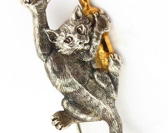 Silver Bookmark Cat with a bottle