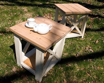 Custom Farmhouse End Table - Rustic Side Tables - Living Room Tables - Bedroom Tables