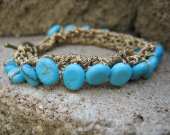 20% off! Floating Turquoise Knit Beaded Bracelet