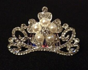 Princess Pearl and Rhinestone Tiara Hair Comb Flower Girl Bride Hair Assessory