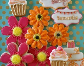 Bright and Cheerful  - Flowers and Cakes Sugar Cookie Set