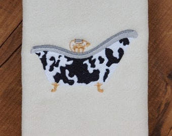 Whimsical Bathtub - Fingertip Towel with Machine Embroidered Cow Pattern Bathtub