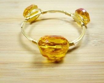Orange Pink Crystal Bangle/Wire Bangles/ Bracelets/ Gifts