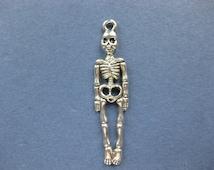 10 Skeleton Charms - Skeleton Pendants - Halloween Charm - Skeleton Bones Charm - Antique Silver - 39mm x 9mm --(No.100-10627)
