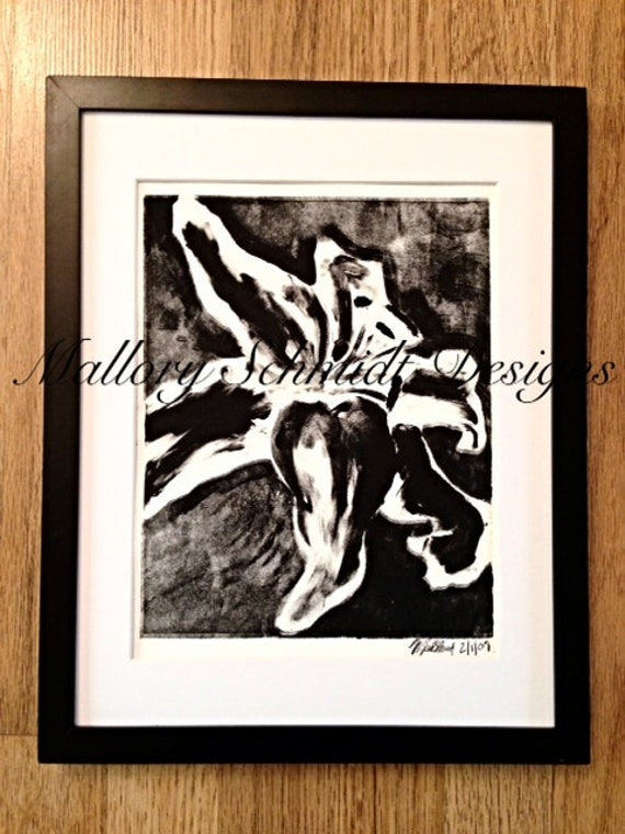 Black And White Floral Wall Decor : Original art flower wall black and white monotype