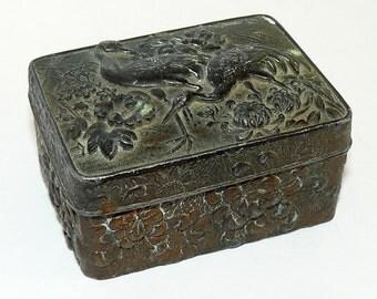 Vintage Repousse Copper Trinket Box. Emu Design c1920s