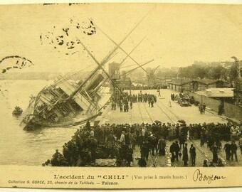"Shipwreck Post Card, ""Chili"" Bordeaux, France, 1903"
