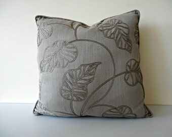Luxury neutral pillow cover - embroidered leaves pillow - taupe pillow - beige pillow - tropical leaves pillow - tropical leaves cushion