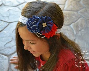 4th of July Headband, Red White Blue, Fourth of July Headband, Vintage Headband, Fancy Headband, Shabby Chic - 4th of July Spectacular.