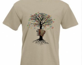Accordion T-shirt Musical Tree Accordionist in all sizes