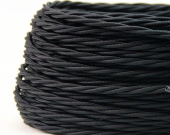 Textile cable / black fabric cable twisted / cable 2 of wire 2 x 0, 75 mm