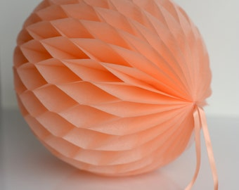 Peach Tissue paper honeycombs -  hanging wedding party decorations