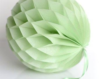 Light green Tissue paper honeycombs -  hanging wedding party decorations